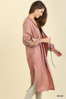 UMGEE Long Kimono Cardigan Jacket Tunic Embroidered Balloon Sleeves Mauve S,M,L