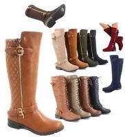 Women's Fashion Zipper Low Heel Riding Knee High Boots Shoes Size 5.5 -11 NEW