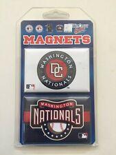 """Washington Nationals Team Logo 2 Pack Magnet Set - 3"""" x 2"""" With Metal Back"""