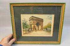 Dufza Burin Original Paris etching - Arc De Triomphe Color glass framed Signed