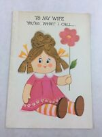 Vintage Wife Birthday Card Doll Flower Rust Craft New Made in USA