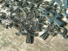 10 Egyptian ANKH Charms Silver Finish Ancient Egypt LIFE Symbol Egyptology