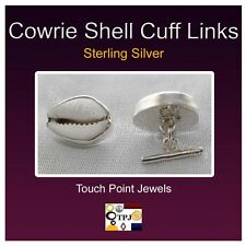 Handmade .925 Sterling Silver Cowrie Shell Cuff Links, White