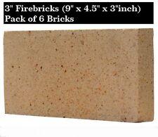"""3 """"Pollici Argilla Fire mattoni FORNELLO PIZZA FORNO firebricks BBQ calore Set di 6"""