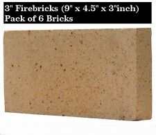 "3"" inch Clay Fire bricks cooker pizza oven firebricks BBQ heat set of 6"
