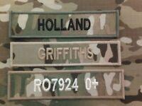 Official (Multicam MTP name tapes or ZAP DETAILS (x3) sew on for MTP I/ uniform)