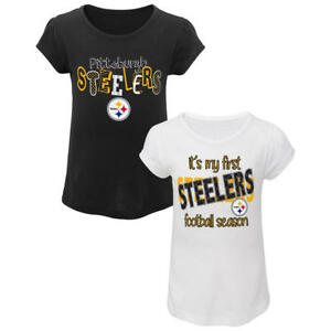 Pittsburgh Steelers NFL Toddler Girls' 2-Pack Graphic T-Shirts, Size 3T - NWT