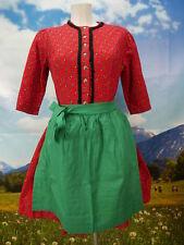 60er Jahre Vintage Dirndl hochgeschlossen dickes Trachtenkleid mit Schürze Gr.44