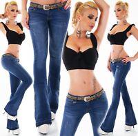 Pantalones Vaqueros de Mujer Cadera Campana Stretch Boot-Cut Cinturón