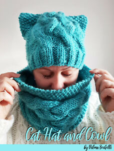 Cat Hat and Cowl knitting pattern. My own original pattern Cabled hat
