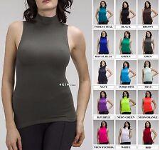 Women Sleeveless Mock Neck Shirt Turtleneck Tank Top Stretch Slim Fit Tee Shirt