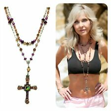 "Sterling silver brown pearl and crystal cross ""Kinley"" rosary necklace"