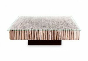 """51"""" W Coffee Table with Solid Glass Top Hardwood Plinth Base 521"""
