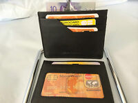 Mens Wallet Leather Ultra Slim Credit Card Holder - Black (AEC-26)