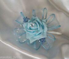 Wedding Single Buttonhole/Corsage Light Blue Rose/Ribbon With Swarovski Crystal