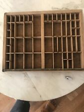 Vintage Wooden Printers Drawer Letterpress Set Tray Shadow Box 1/2 in x 16 in