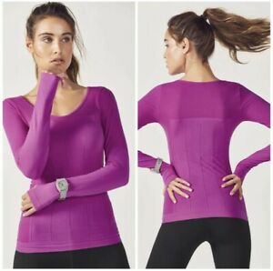 Fabletics Delta Seamless Long Sleeve Top Orchid Purple Athleisure Lightweight M