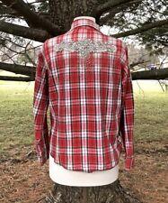 NEW Free People Beloved Vintage red brown Plaid Flannel Embellished Top OOAK S/M