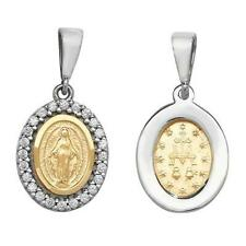 9ct Yellow/White Gold Small 20mm Madonna Oval Shaped Virgin Mary Disc Gift Boxed