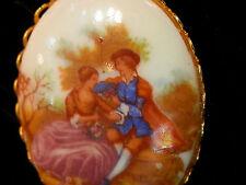 Romantic Vintage 50's Blue Porcelain Lovers Cameo Necklace 259F7
