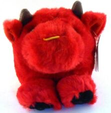 Bruno the Bull Red Puffkins Bean Bag Plush 1998 Swibco with Hang Tag