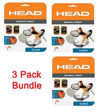 3 Packs of HEAD Sonic Pro Orange 16g Tennis Racket Racquet Polyester Strings