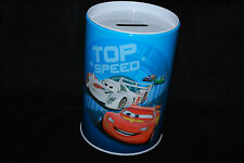 Disney Pixar Cars Movie Round Tin Coin Bank Top Speed Oil Can  Free Shipping
