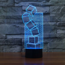 Desk Light Square 3D Illusion Led Lamp Modern Decor Night Light 7 Colors Change