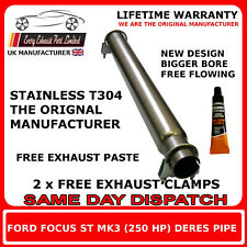 Ford Focus Larger Bore ST 250 Mk3 Front silencer replacement de-res delete pipe