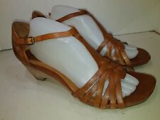 Clarks Artisan Brown Ankle Strap Heels Sandals Woven Open toe Size 11 M