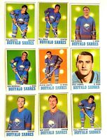 1970 Topps Team Lot of 9 Buffalo SABRES Near Mint NHL, OPC, Goyette, Fleming