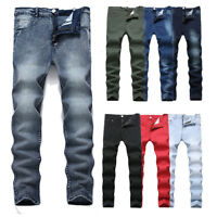 Fashion Mens Slim Fit Straight Washed Pencil Trousers Skinny Jeans Pants Casual