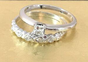 Princess Cut .25 CTW Diamond Engagement Wedding Bridal Set 14K White Gold Size 6