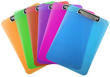 Plastic Clipboard Transparent Letter Size Low Profile (Pack of 6) (Assorted)