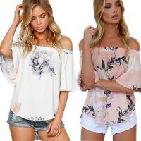 GB verano mujer manga corta hombro descubierto Camisa Blusa Flores Informal