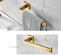 New Wall Mounted Brushed Gold SUS304 Bathroom Toilet Towel Ring Hand Rack Holder