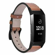 Leather Band For Fitbit Charge 3 Black Buckle and Adapters Strap Wristband New
