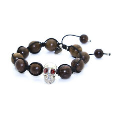 KRISS & JULES Ebony and Silver Skull Shamballa Bracelet C0911 $215 NEW