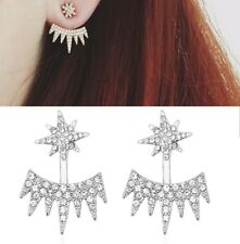 Silver Pave Star Stud Crystal Spike Flame Ear Jackets Cuff Earrings Wedding