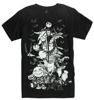 Disney Nightmare Before Christmas Group Sketch Black Men's Graphic T-Shirt New