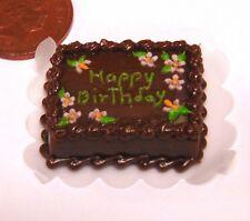1:12 Scale Oblong Happy Birthday Cake Tumdee Dolls House Celebration Food NC93