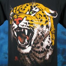 vintage 80s LEOPARD PAPER THIN T-Shirt SMALL jaguar nature cat wild animal fangs