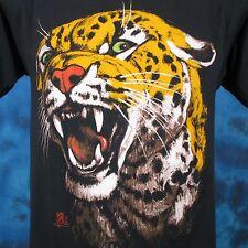 vintage 80s LEOPARD PAPER THIN T-Shirt SMALL jaguar nature cat wild animal fangs