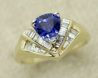 14k Yellow Gold Over 2.00ct Trillion Tanzanite & Diamond Cocktail Wedding Ring