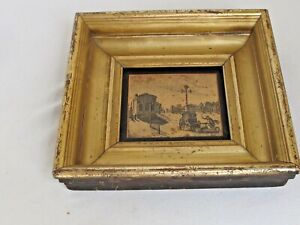 """Antique19th c  Gold Gilt Deep Well Wood  Frame with Etching11"""" x 10 1/4"""" x 21/4"""""""