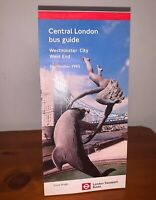 LONDON TRANSPORT BUSES CENTRAL BUS GUIDE MAP WESTMINSTER CITY WEST END SEP. 1995