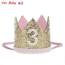 Kids Girls Baby Party Crown Headband Gold Hair Band Festival Birthday Headwear #3