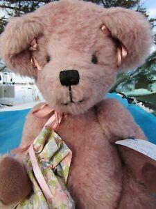 "VINTAGE TEDDY BEAR PINK GIRL DOLL ROSIE 19"" OOAK ARTIST MICKEY BENT ARMS UNIQUE"