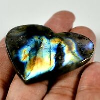 62.75 Cts Natural Blue Multy Flash Labradorite Heart Cabochon Gemstone MF-117