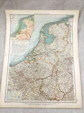 1899 Antique Map of Belgium Holland The Netherlands Original 19th Century GERMAN